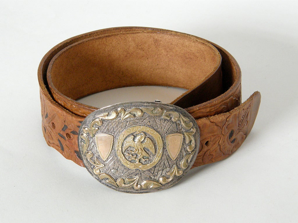 tooled leather belt with sterling trophy buckle at 1stdibs