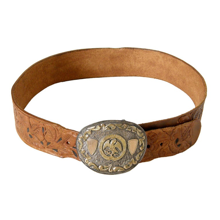 tooled leather belt with sterling trophy buckle for sale