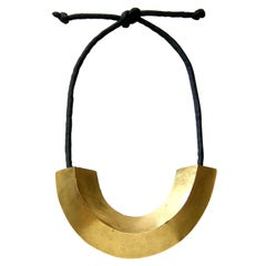 Mary McFadden Necklace Gold Plated Brass Pendant on Cord