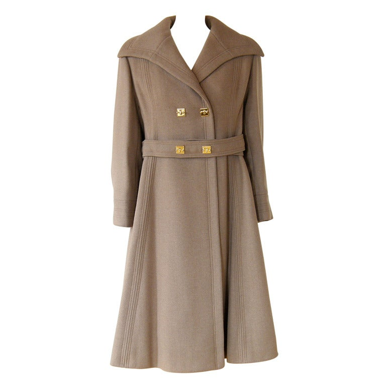 c. 1960s Galanos Coat with Unique Hardware