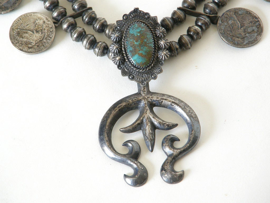 "c. 1920s ""Squash Blossom"" Necklace with Liberty Quarters 2"