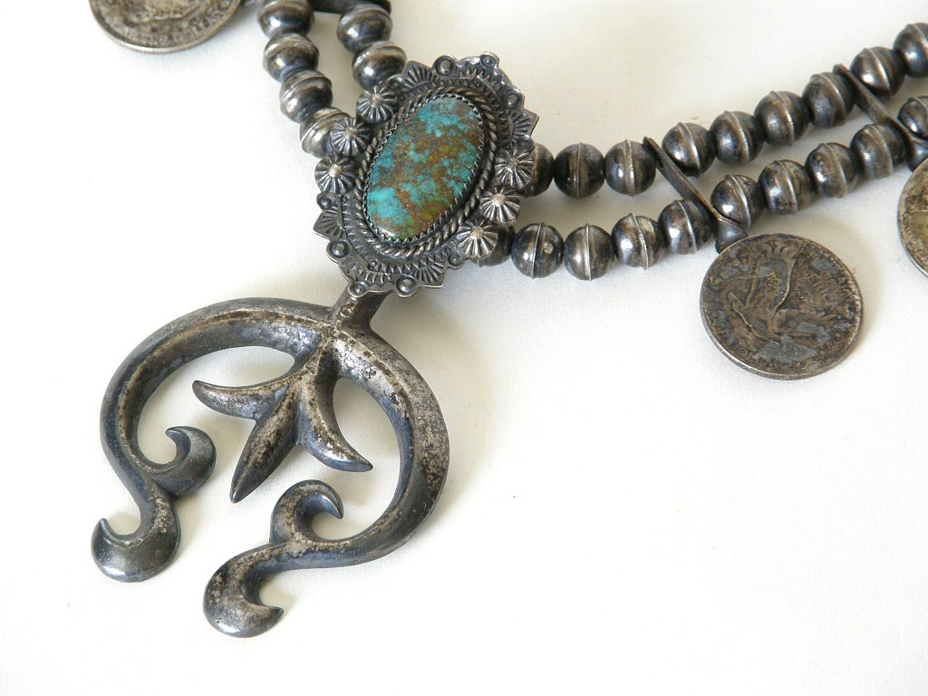 "c. 1920s ""Squash Blossom"" Necklace with Liberty Quarters 4"