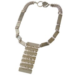 Futuristic Paco Rabanne Heavy Link Pendant Necklace with Logo Clasp