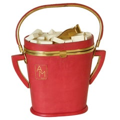 Anne-Marie Paris Figural Sugar Bowl Novelty Handbag Red Leather