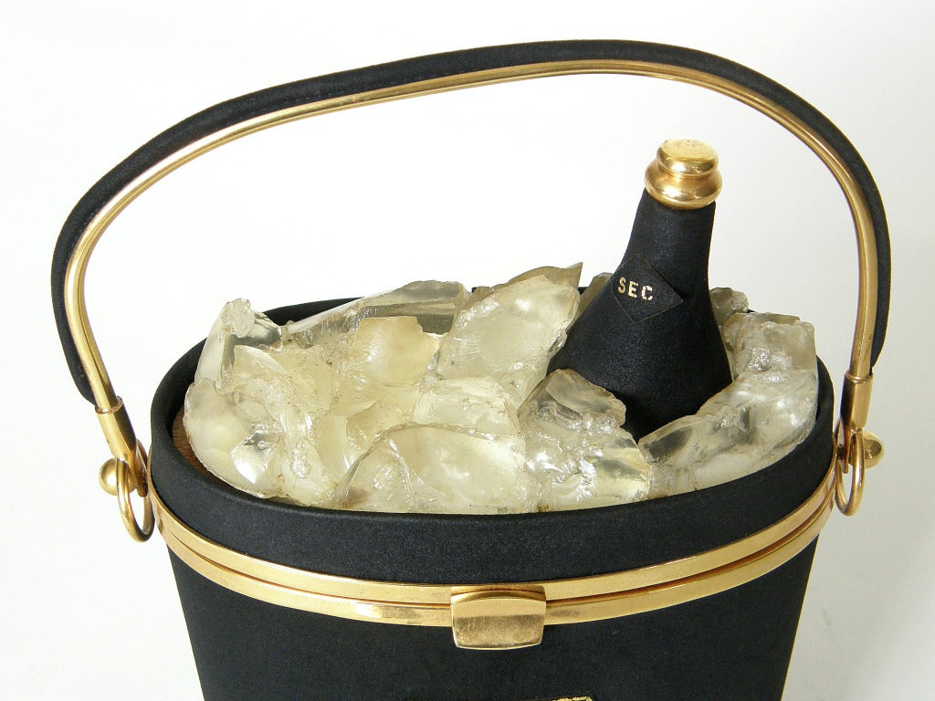 Black Anne-Marie Champagne Bucket Handbag For Sale