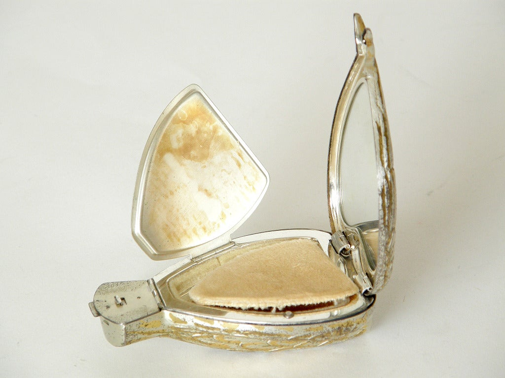 """Rare Sterling """"Bird in Hand"""" Compact by Salvador Dali For Sale 2"""