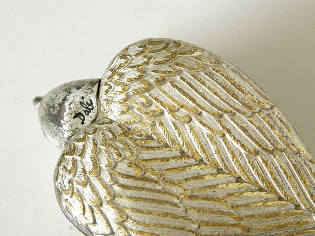 """Rare Sterling """"Bird in Hand"""" Compact by Salvador Dali For Sale 4"""