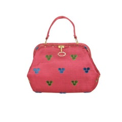 Fuchsia Roberta di Camerino Handbag with Raised Trefoil Design