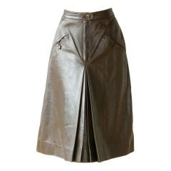Gucci Brown Leather Skirt