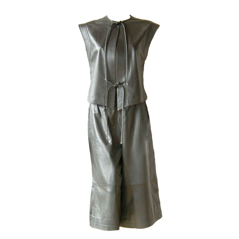 Gucci Gray Leather Gaucho Skirt and Vest