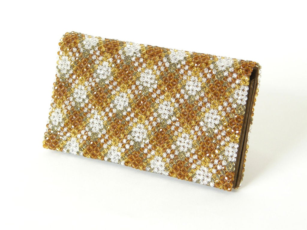 Plaid Crystal Bead Clutch 2
