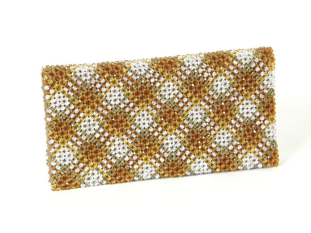Plaid Crystal Bead Clutch 3