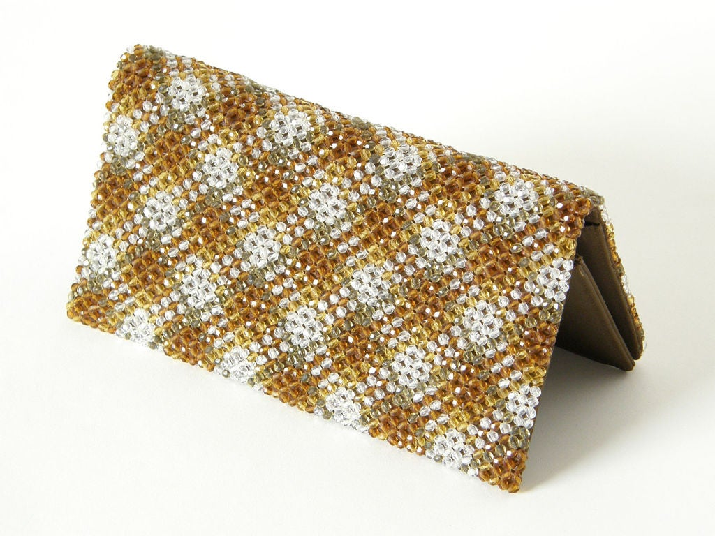 Plaid Crystal Bead Clutch 6