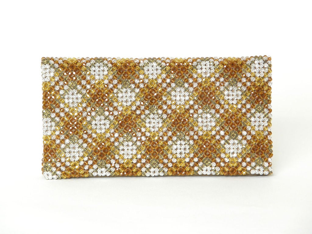 Plaid Crystal Bead Clutch 7