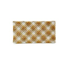 Plaid Crystal Bead Clutch