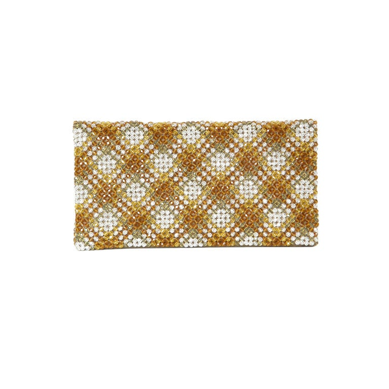 Plaid Crystal Bead Clutch 1