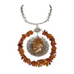 Lillian Kalan Sterling and Amber Brutalist Necklace