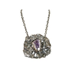 Lillian Kalan Brutalist Sterling Necklace with Geode