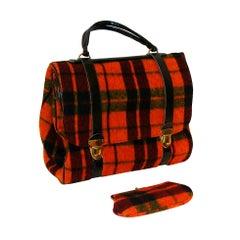 Over-sized Plaid Handbag Expanding to a Satchel
