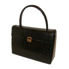 Black Center Skin Crocodile Handbag Purse France
