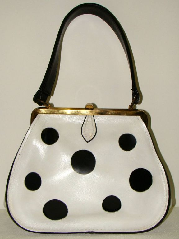 Women S Rare Black And White Polka Dot Leather Purse For