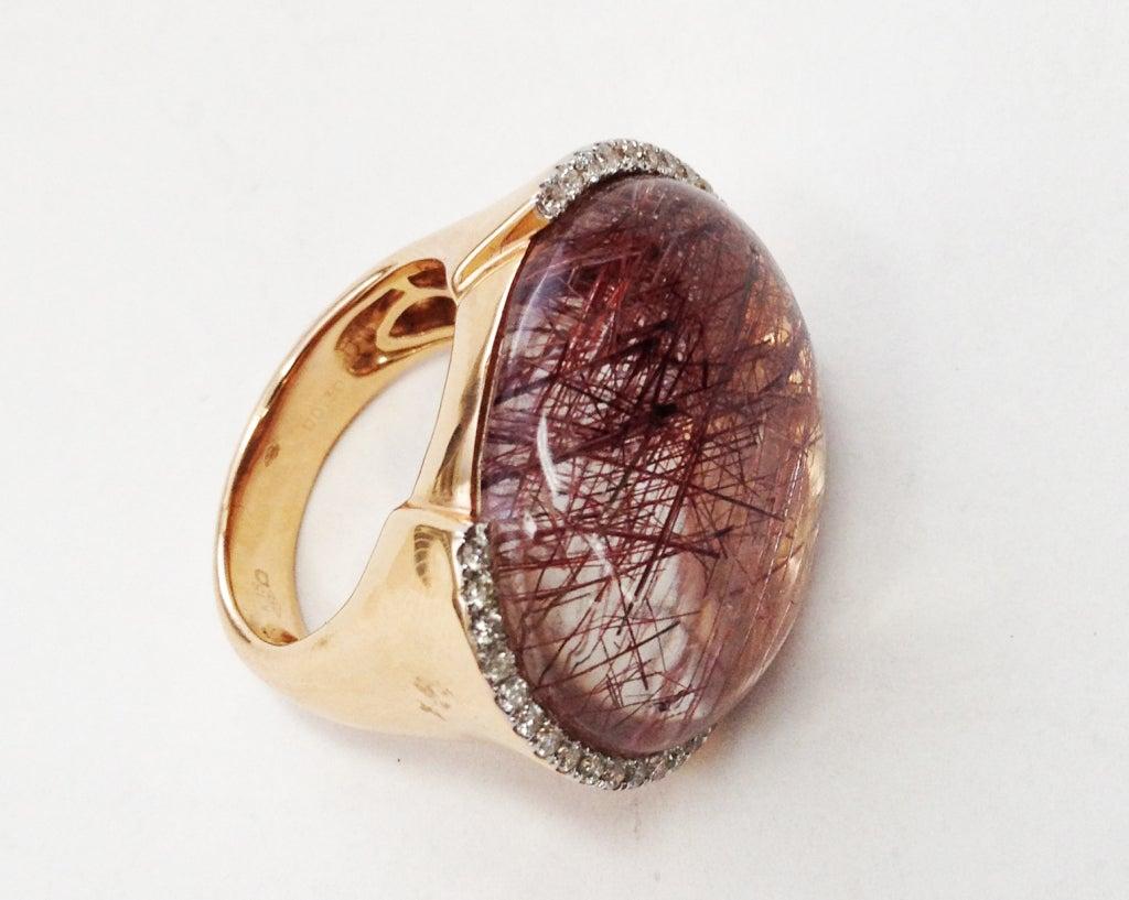 Rutilated Quartz Diamond Gold Ring C1950s 2