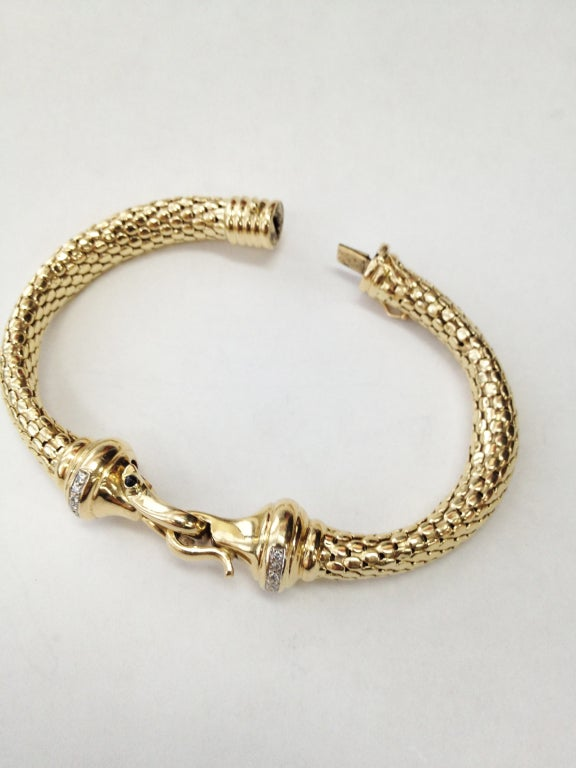 Modernist Diamond Gold Mesh Hook and Loop Bangle Bracelet For Sale