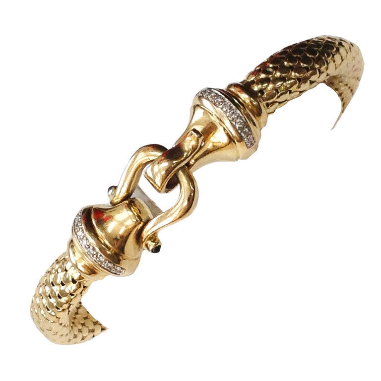Diamond Gold Mesh Hook and Loop Bangle Bracelet For Sale