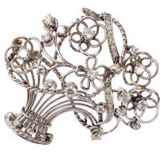 1950s Retro Diamond Platinum Flower Basket Pin Brooch