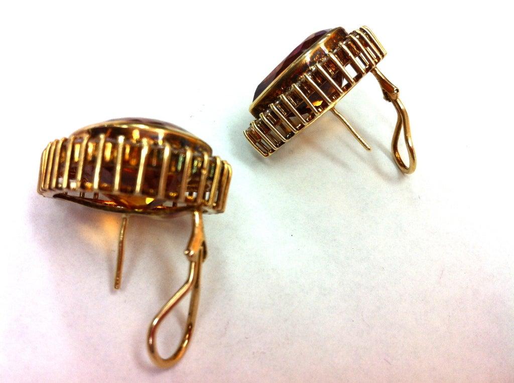 Coach House Mandarin Teardrop Citrine Diamond Gold Earrings 2