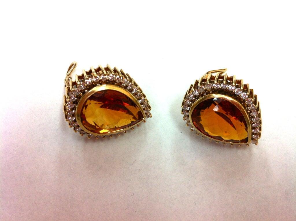 Coach House Mandarin Teardrop Citrine Diamond Gold Earrings 3