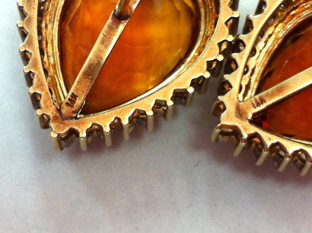 Coach House Mandarin Teardrop Citrine Diamond Gold Earrings 4