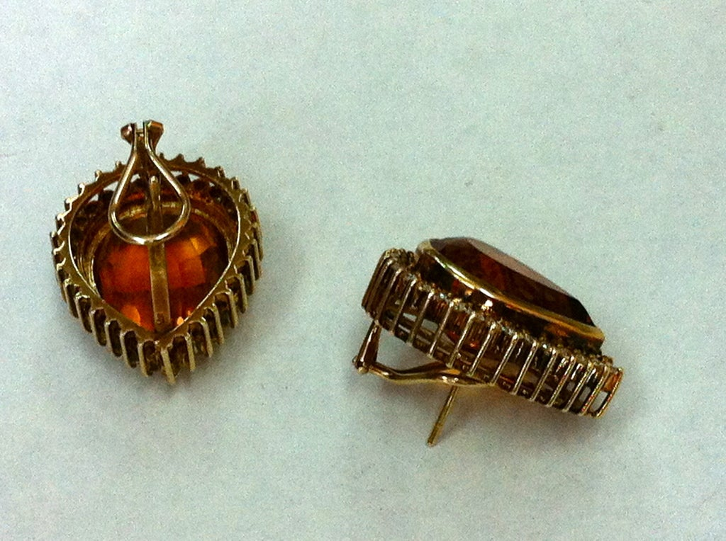 Coach House Mandarin Teardrop Citrine Diamond Gold Earrings 5