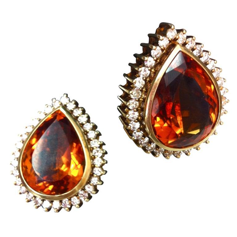 Coach House Mandarin Teardrop Citrine Diamond Gold Earrings 1