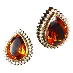 Mandarin Citrine Precious Gemstone Diamond Gold Earrings Fine Estate Jewelry