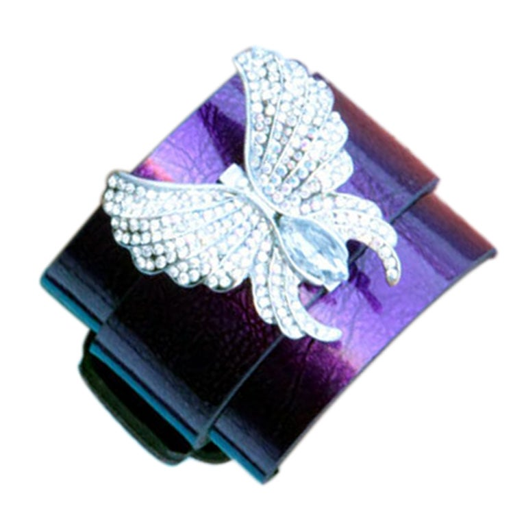 CZ Butterfly  Leather Cuff Bracelet 1