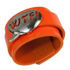 WTF! Acronym Stainless Steel Leather Cuff Bracelet