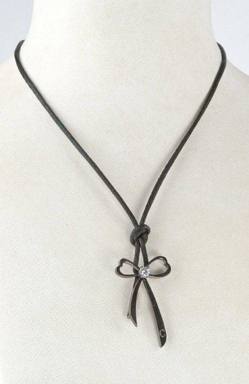 Black Rhodium S/S Heart Note Leather Cuff Bracelet 3