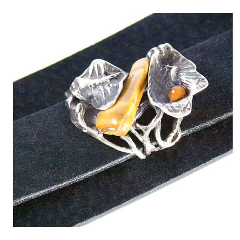 Vintage Silver Tiger-Eye Floral Heirloom Cuff Bracelet For Sale