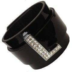 CZ Initial Leather Cuff Bracelet