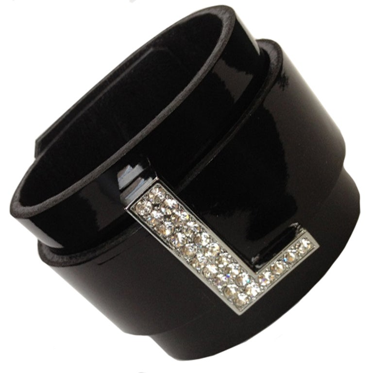 CZ Initial Leather Cuff Bracelet 1