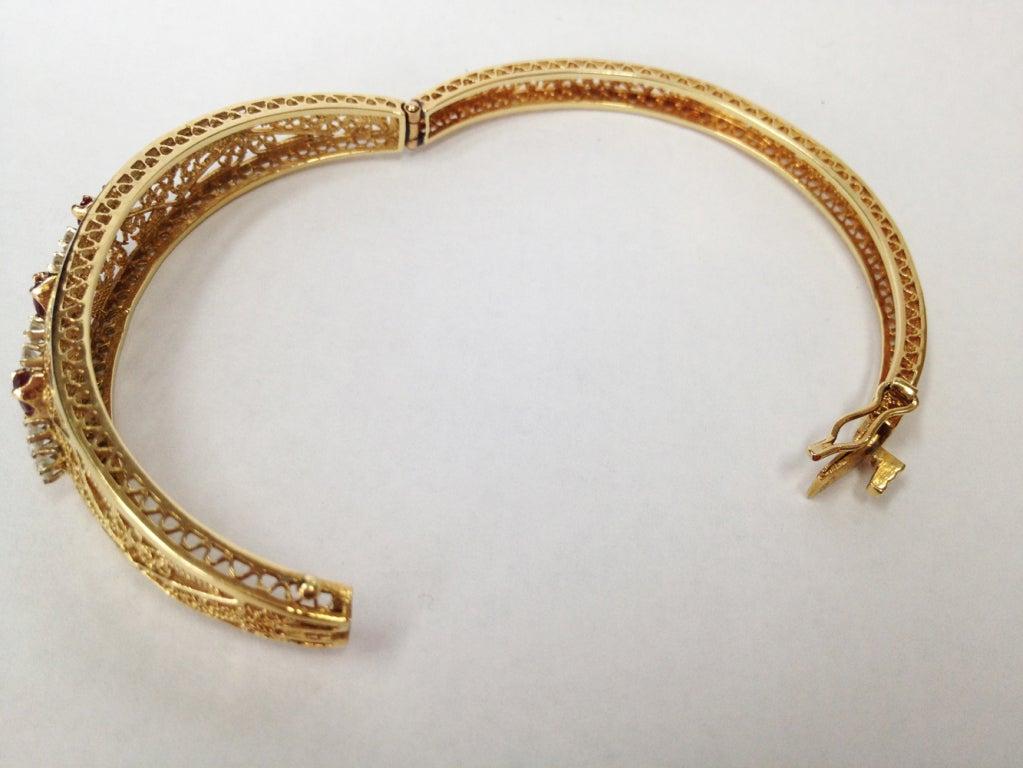 diamond ruby gold bracelet at 1stdibs