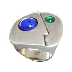 Walter Schluep Sterling Silver Face Ring