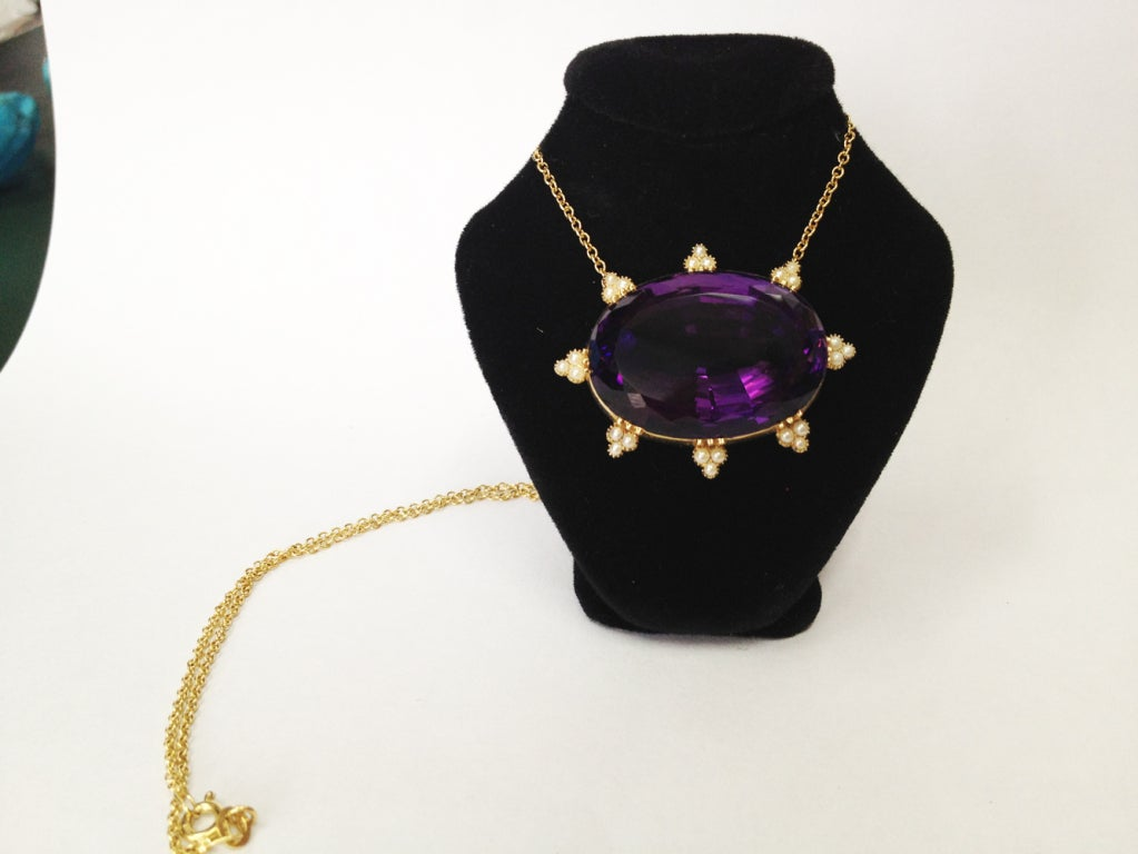 Art Deco Amethyst Pearl Gold Necklace 2
