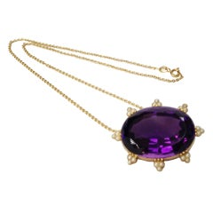 Art Deco Amethyst Pearl Gold Necklace