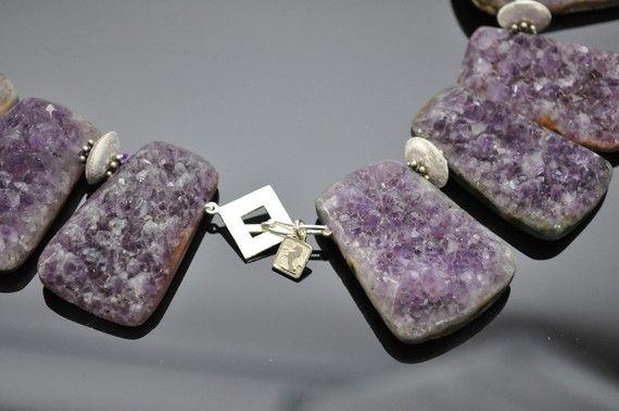 Modernist Natural Gem Amethyst Quartz Sterling Silver Statement Necklace For Sale