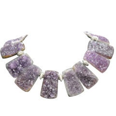 Natural Gem Amethyst Quartz Silver Necklace