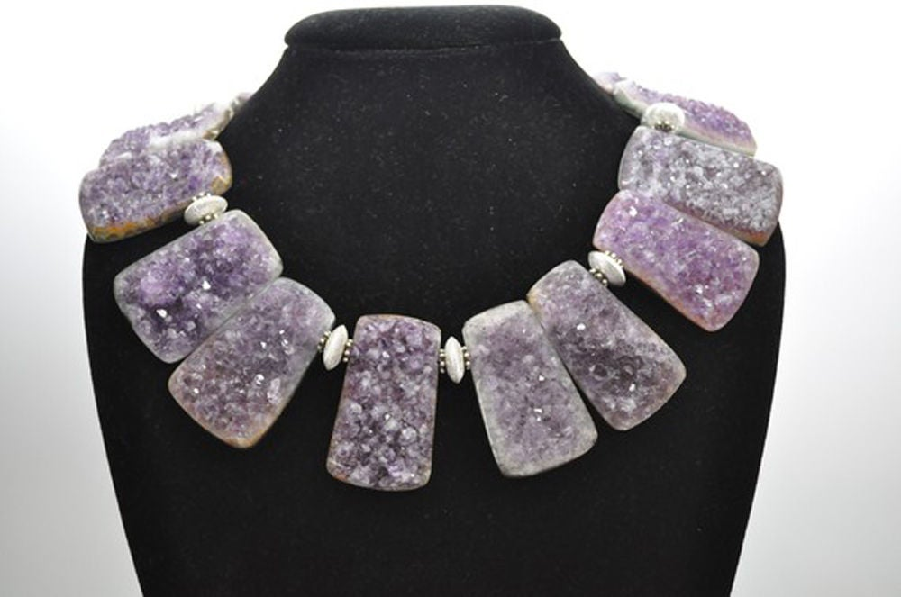 Outstanding Handmade Genuine Natural Gem Amethyst Quartz Necklace inter-spaced with Sterling Silver Rondelle Beads; held by a Square Silver Clasp. The rectangular Gem Amethyst Quartz Stone measures approx. 52mm x 32mm, slight variations in size of