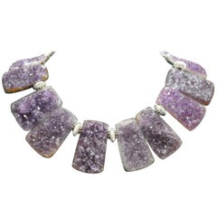 Sensational Natural Gem Amethyst Quartz Statement Necklace