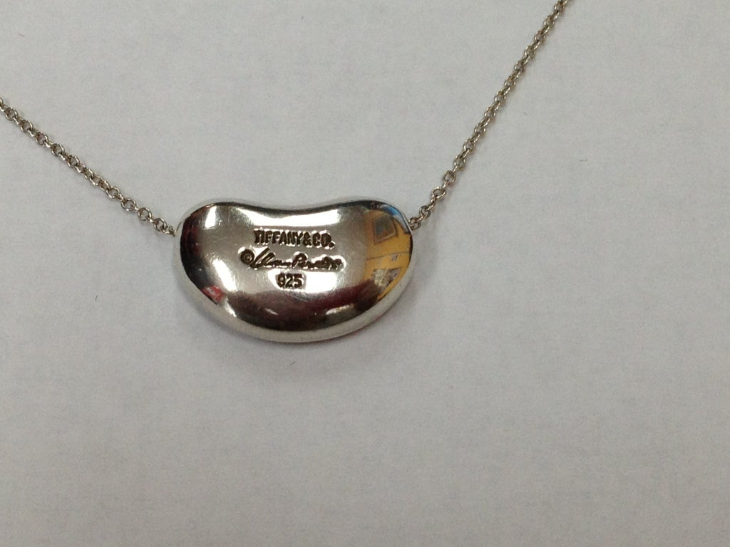 64762137550b Tiffany and Co. Sterling Silver signed Elsa Peretti Bean Pendant at ...